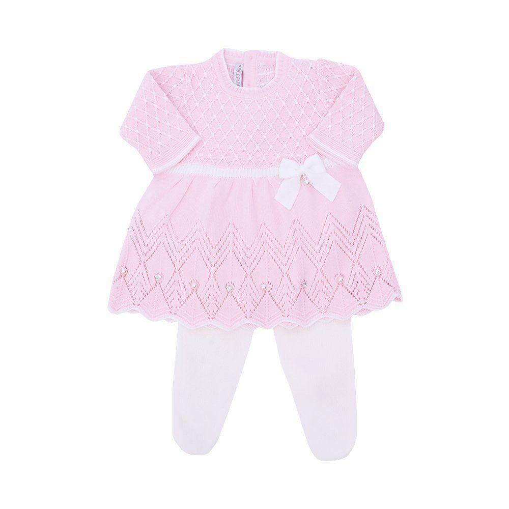 Conjunto bebê com cristais swarovski - Rosa bebê