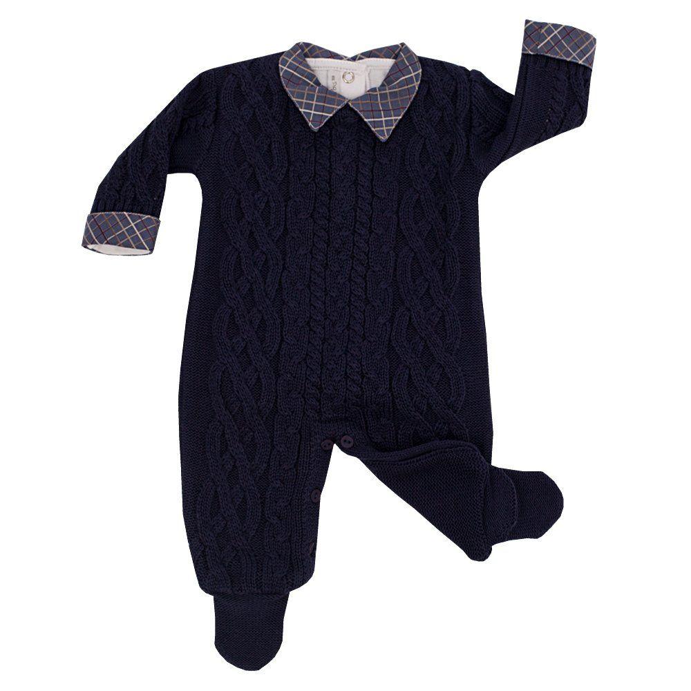Conjunto bebê em tricot 2 peças - Azul marinho