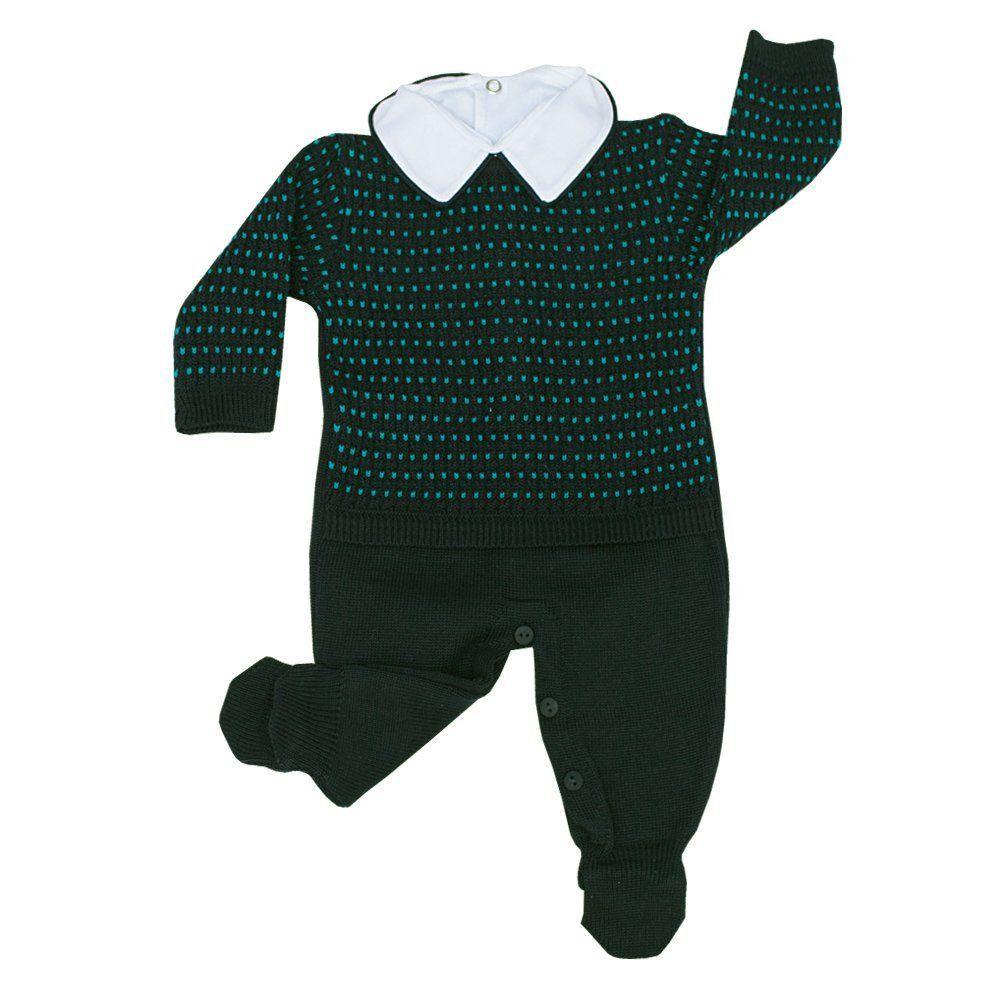 Conjunto bebê em tricot trançado 2 peças - Azul profundo