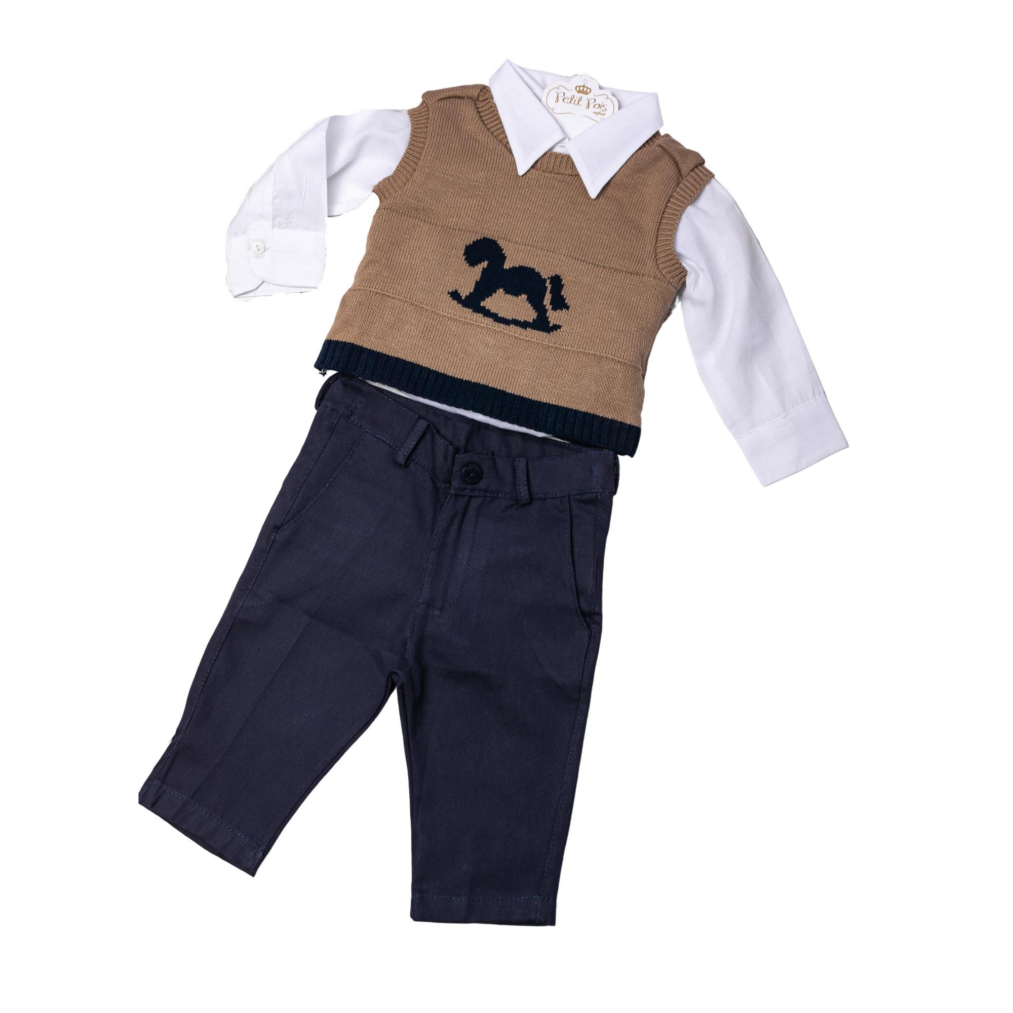 Conjunto bebê com pullover cavalo - Branco, bege e azul marinho