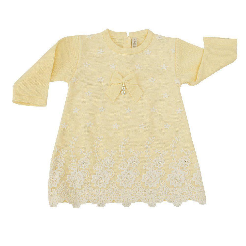 Conjunto bebê em tricot 4 peças - Amarelo e branco