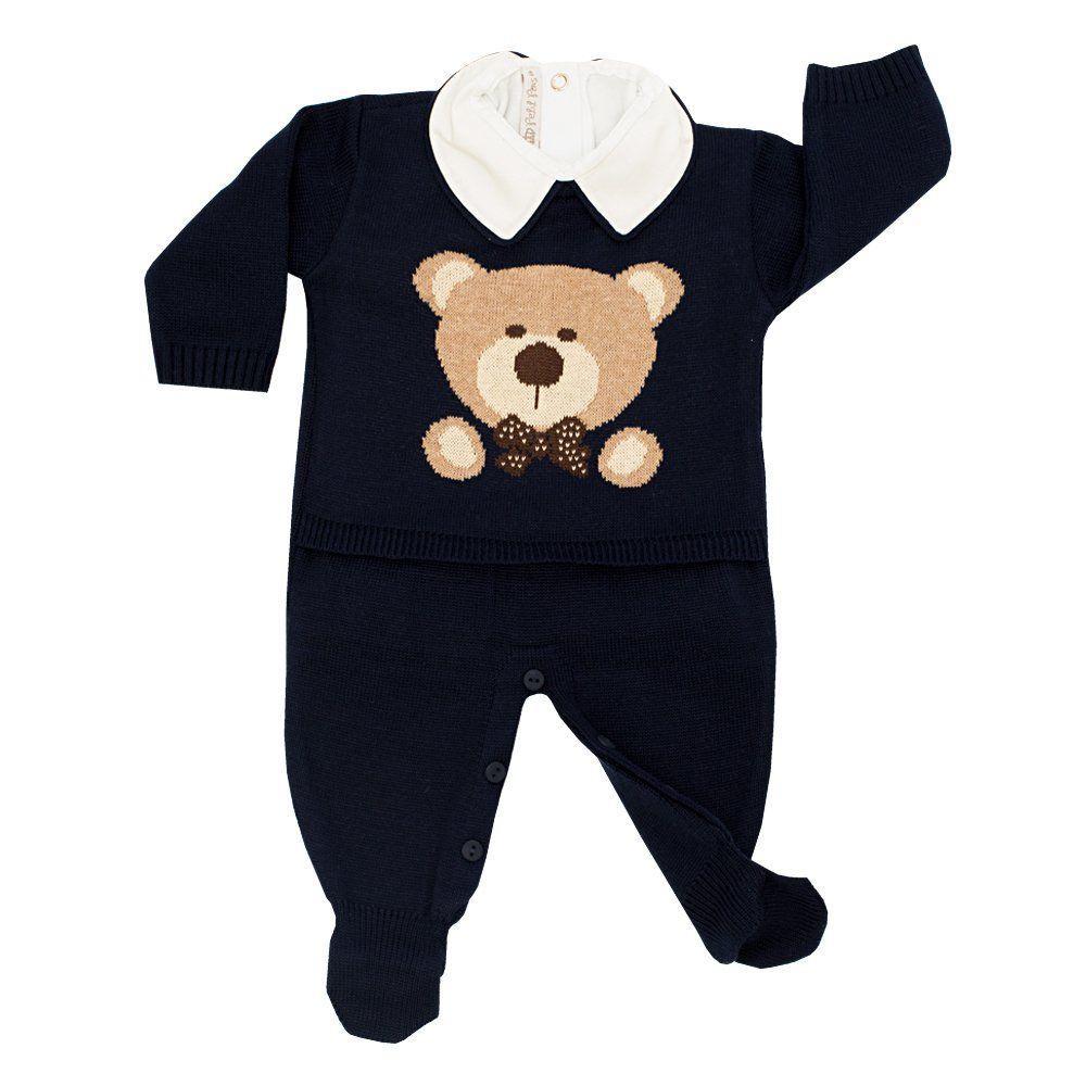 Conjunto bebê em tricot urso 2 peças - Azul marinho