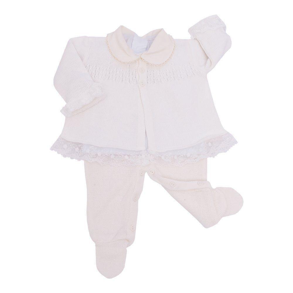 Conjunto bebê com jardineira, casaco e body - Marfim