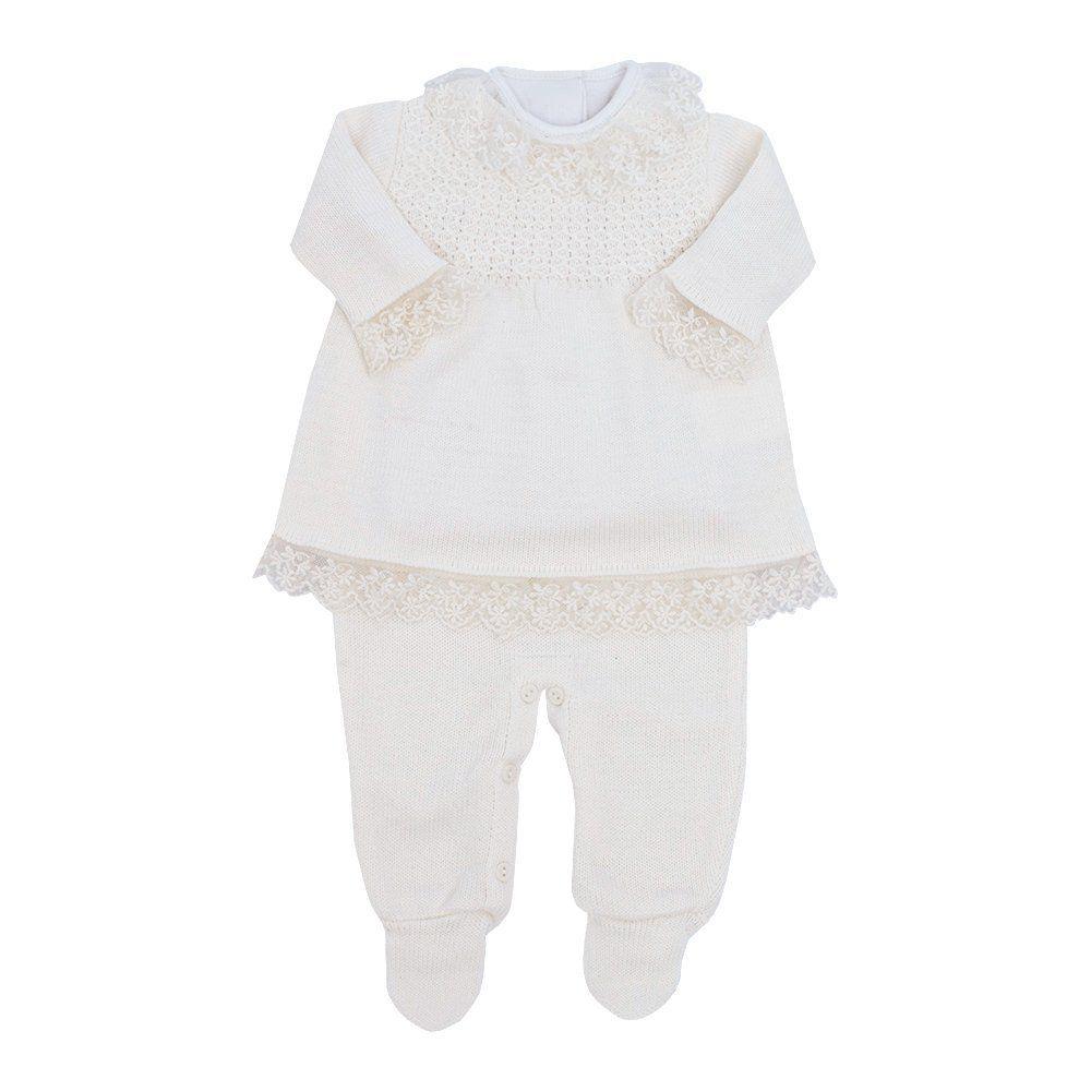 Conjunto bebê feminino 3 peças - Marfim