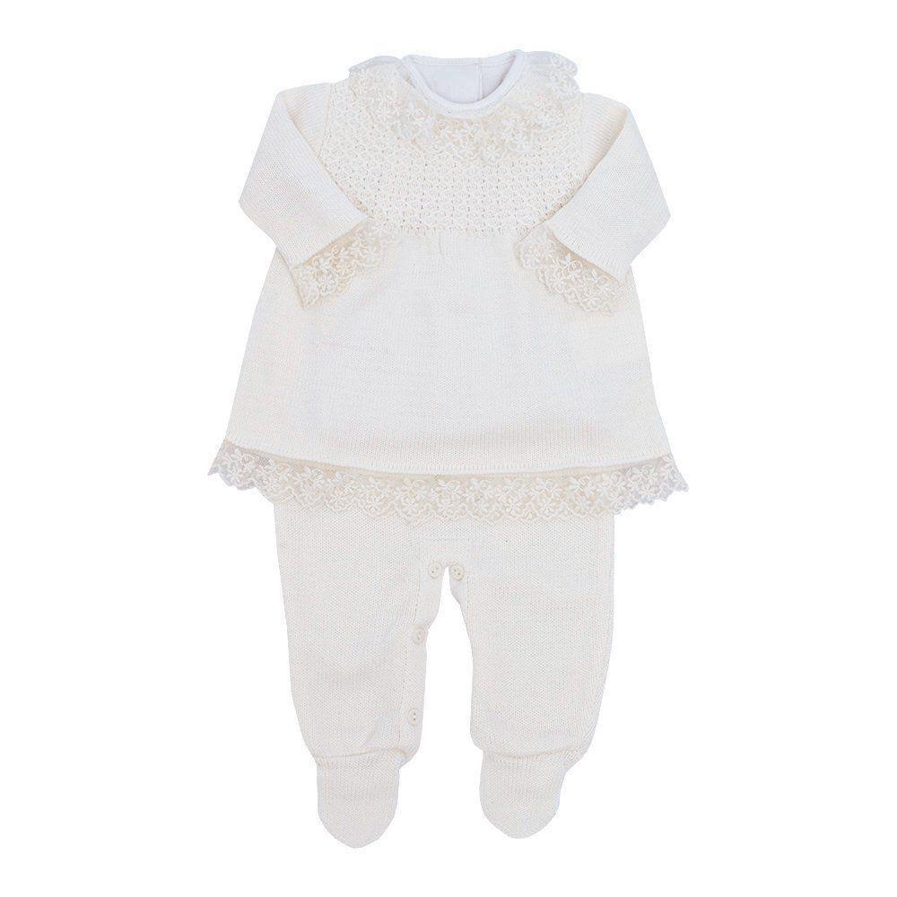 Saída de maternidade feminina jardineira, vestido e body - Marfim