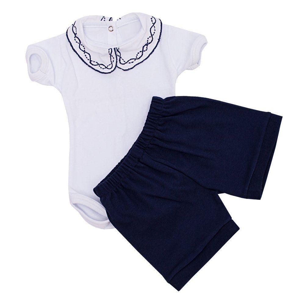 Conjunto bebê feminino body bordado 2 peças - Branco/Azul marinho