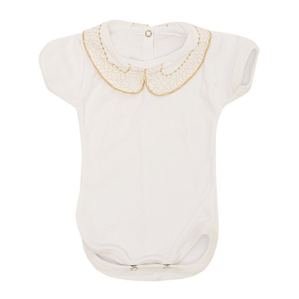 Conjunto bebê feminino body bordado 2 peças - Branco/Rolex