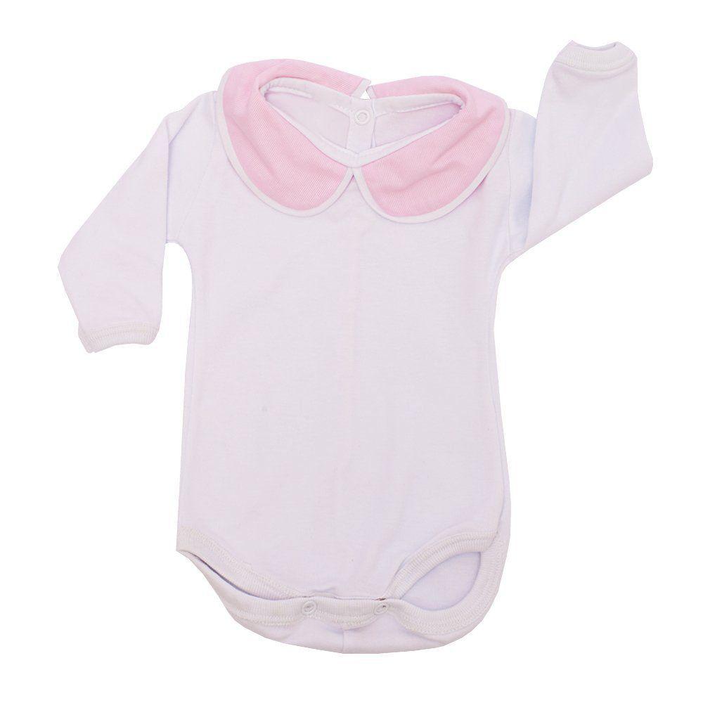Conjunto bebê feminino bordado ursinha 3 peças - Rosa bebê