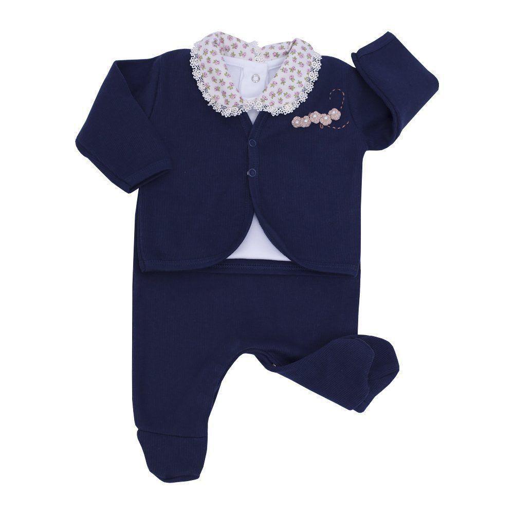 Conjunto bebê feminino com 6 peças - Azul marinho