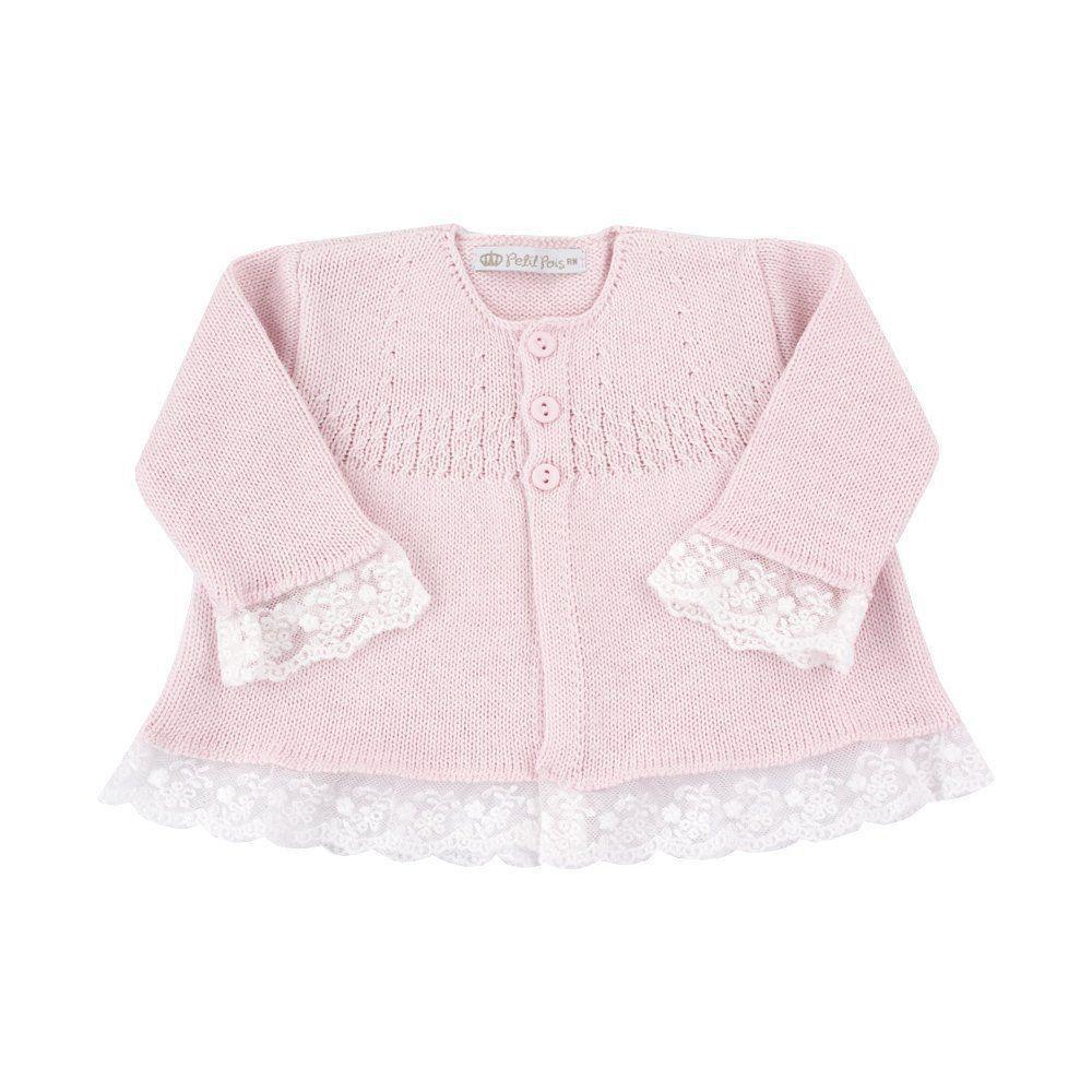 Conjunto bebê com jardineira e casaco - Rosa bebê