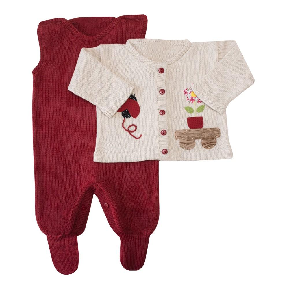 Conjunto bebê joaninha jardineira e casaco - Vermelho e bege
