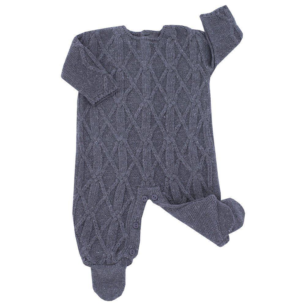 Conjunto bebê em tricot 2 peças - Cinza