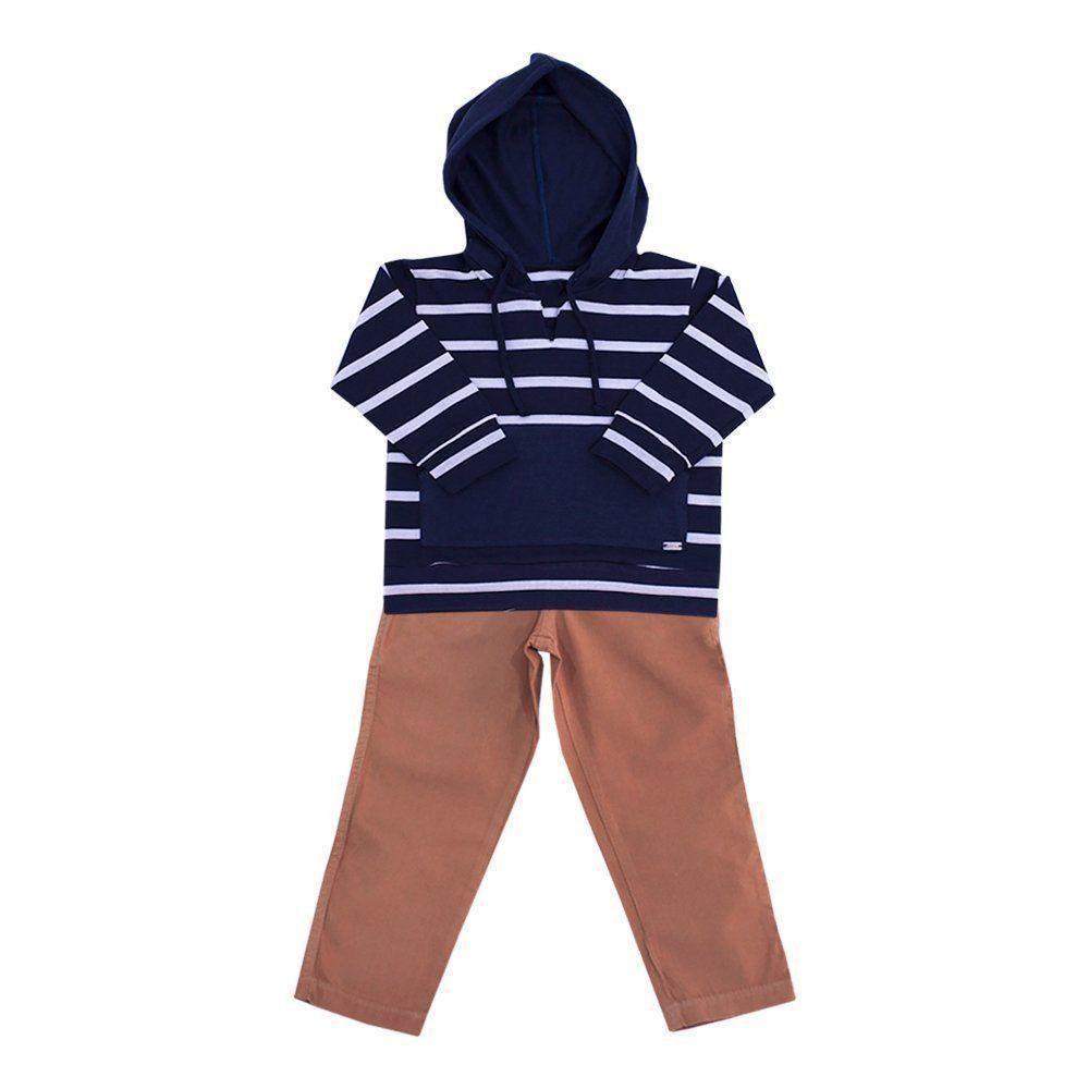 Conjunto bebê masculino 2 peças - Azul marinho e caramelo