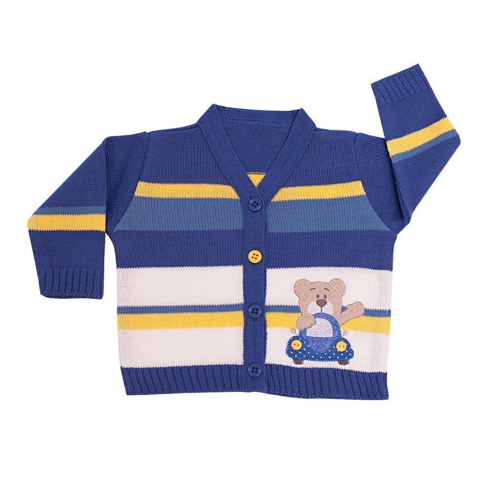 Conjunto bebê ursinho em tricot 2 peças - Azul anil
