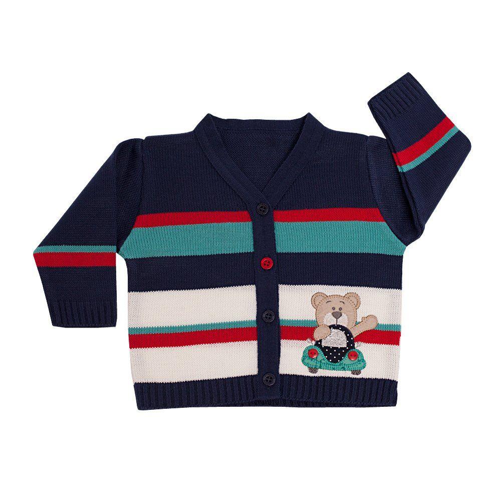 Conjunto bebê ursinho em tricot 2 peças - Azul marinho