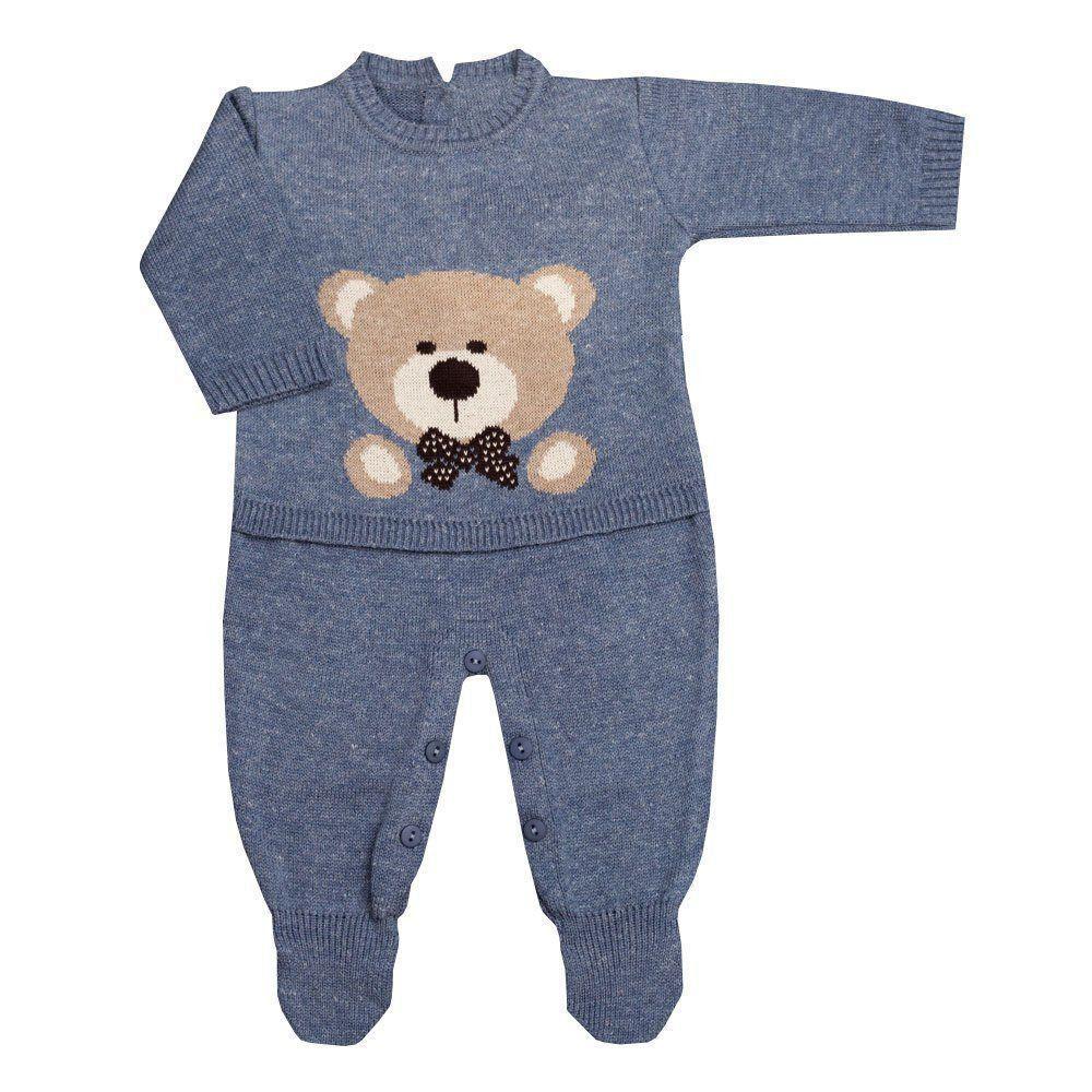 Conjunto bebê em tricot urso 2 peças - Jeans