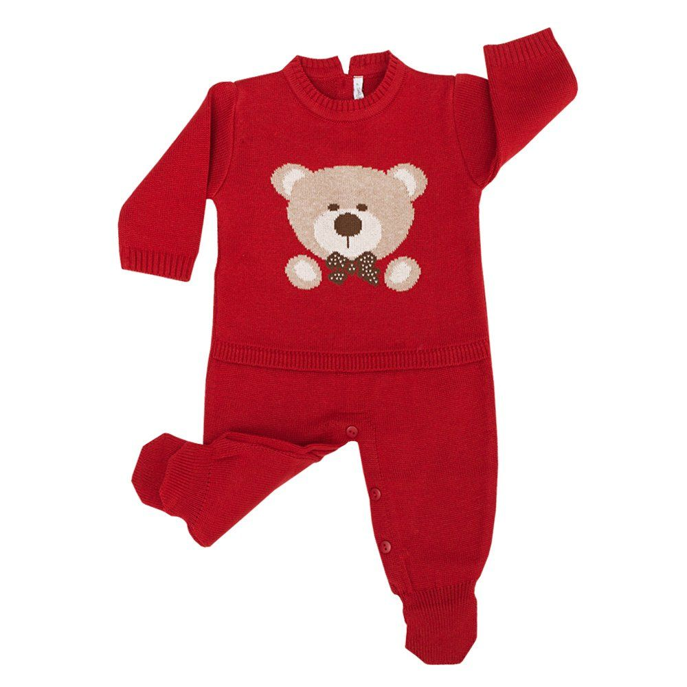 Conjunto bebê em tricot urso 2 peças - Vermelho