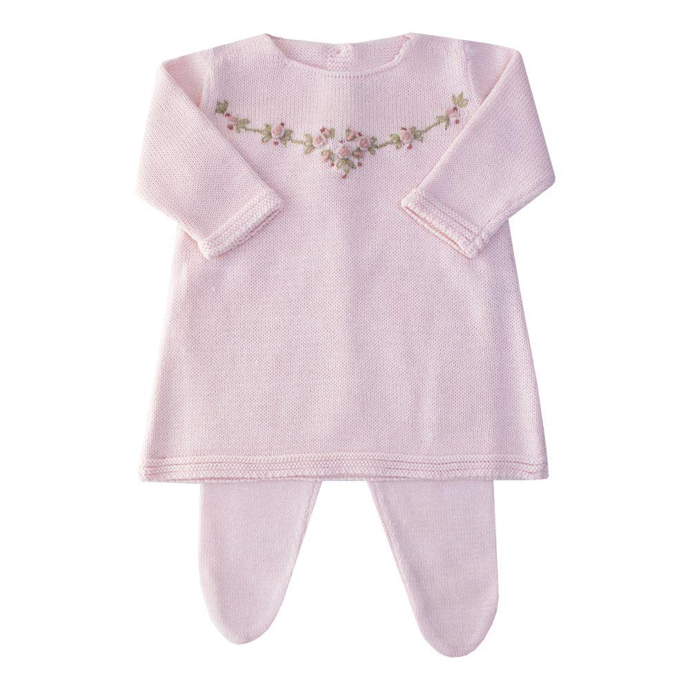 Conjunto bebê vestido e calça arco de flores - Rosa bebê