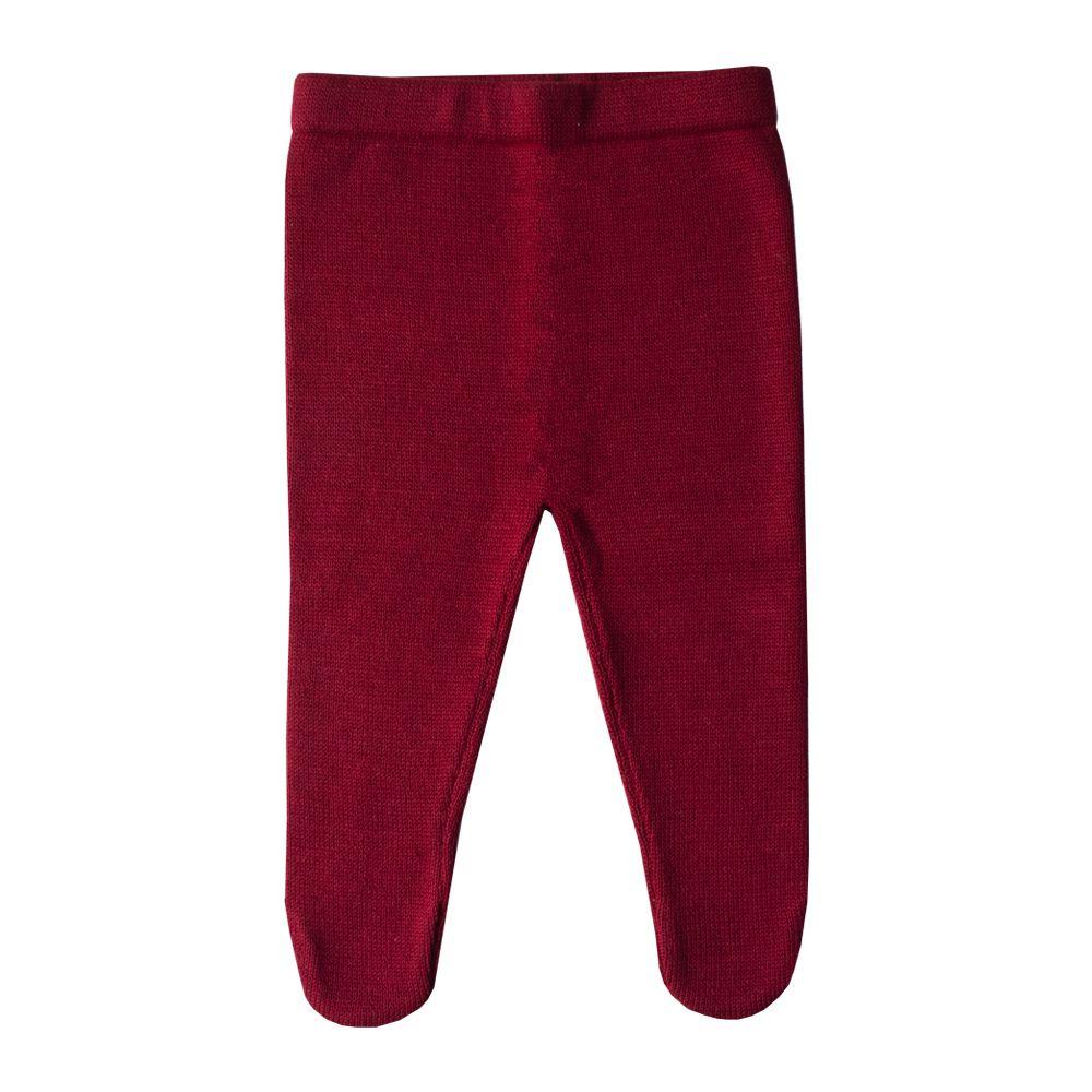 Conjunto bebê vestido e calça tressê - Vermelho e off white