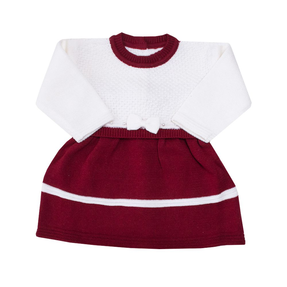 Conjunto bebê vestido e calça tressê - Vermelho e branco
