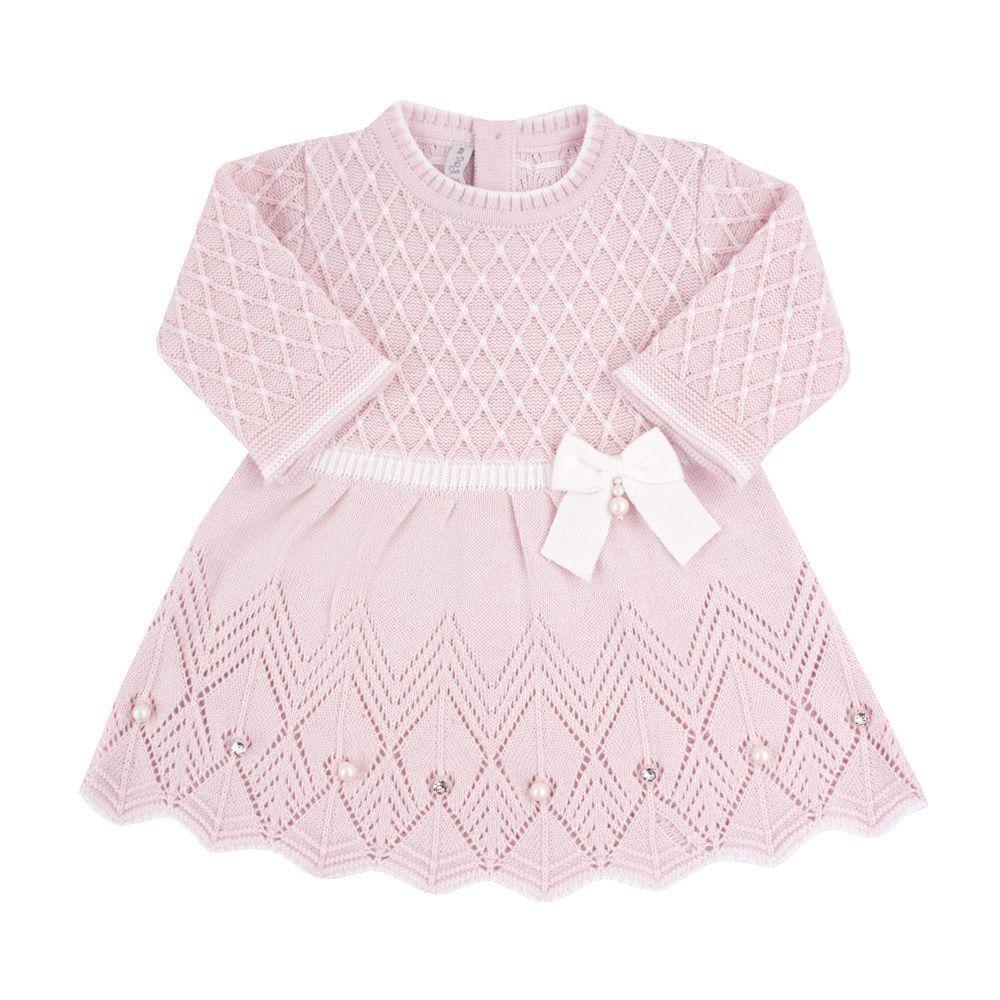 Conjunto bebê casinha de abelha vestido com cristais swarovski e calça - Rosa bebê e branco