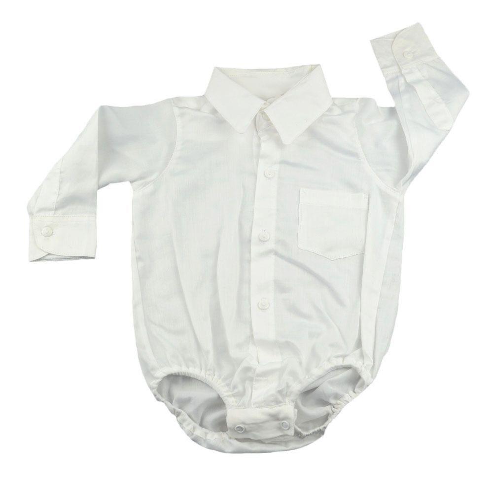 Conjunto bebê 3 peças - Branco e jeans