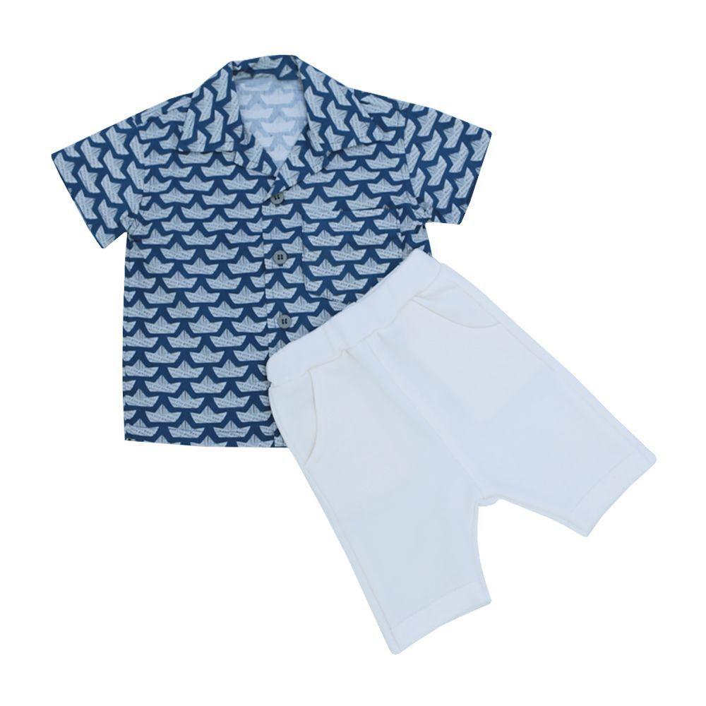 Conjunto bebê 2 peças - Off white e azul