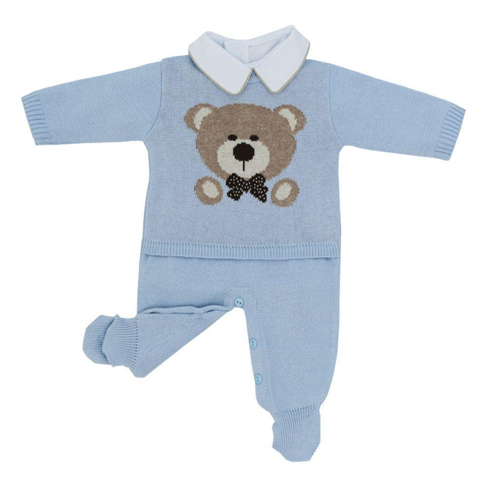 Conjunto bebê em tricot urso 3 peças - Azul bebê