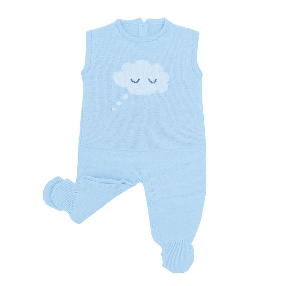 Conjunto bebê em tricot nuvem - Azul bebê