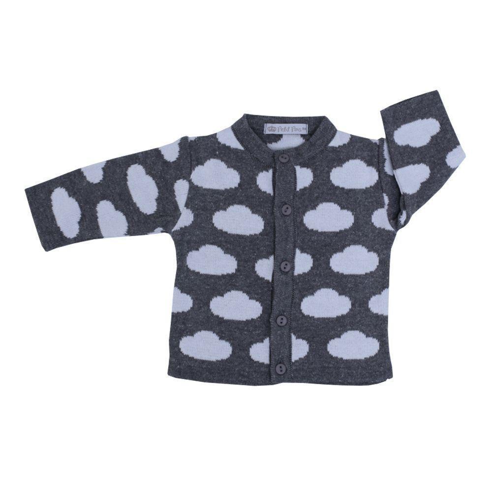 Conjunto bebê em tricot nuvem 3 peças - Grafite