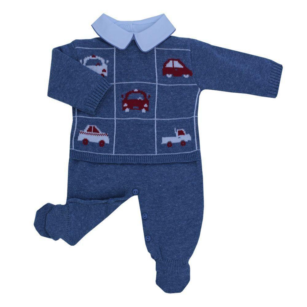Conjunto bebê em tricot carros 3 peças - Jeans