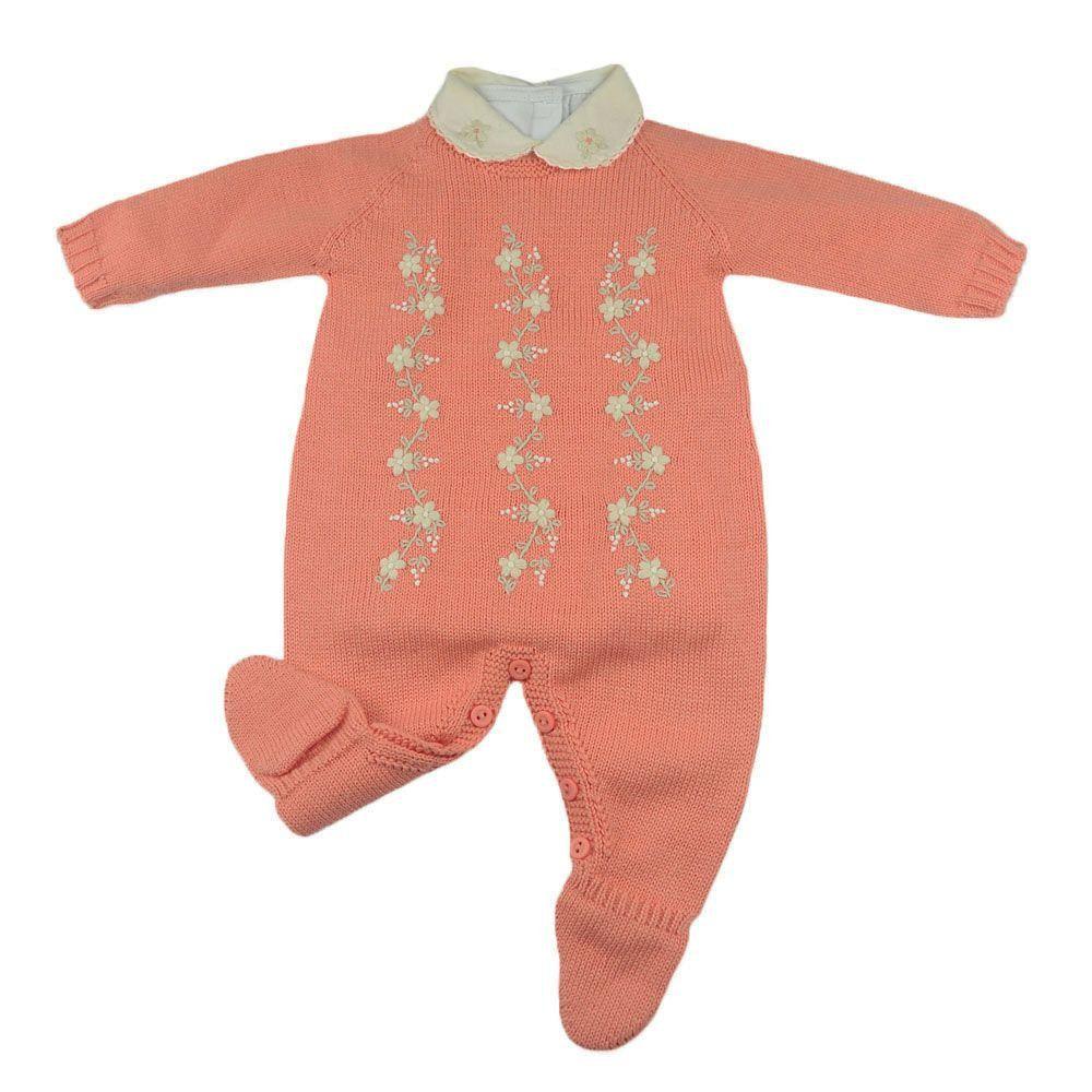 Conjunto bebê em tricot 2 peças - Laranja