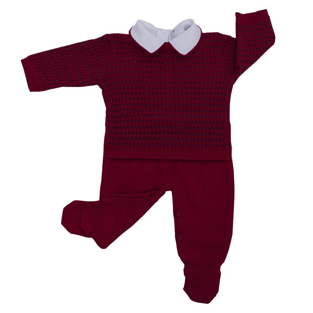 Conjunto bebê em tricot trançado 2 peças - Vermelho