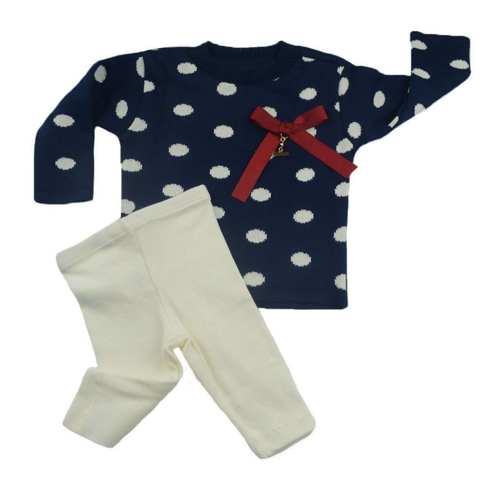 Conjunto bebê 2 peças - Azul marinho e off white