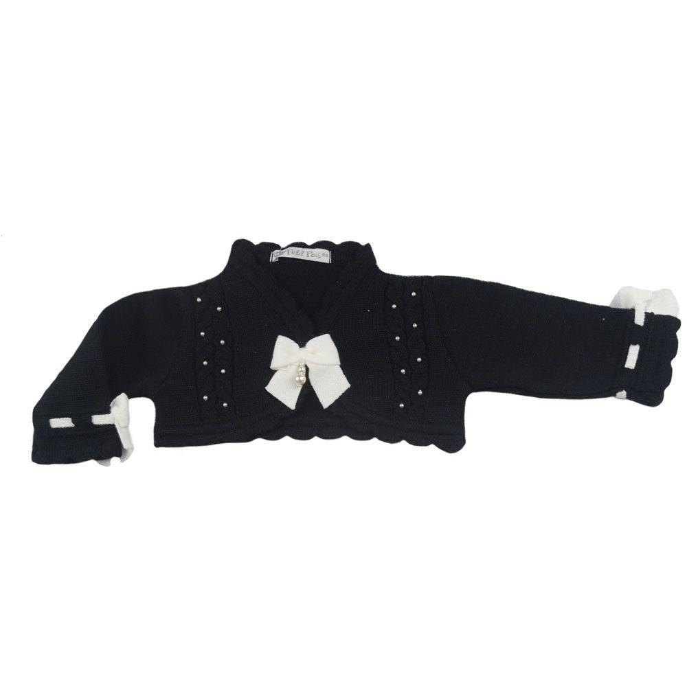 Conjunto bebê em tricot 5 peças - Branco e preto