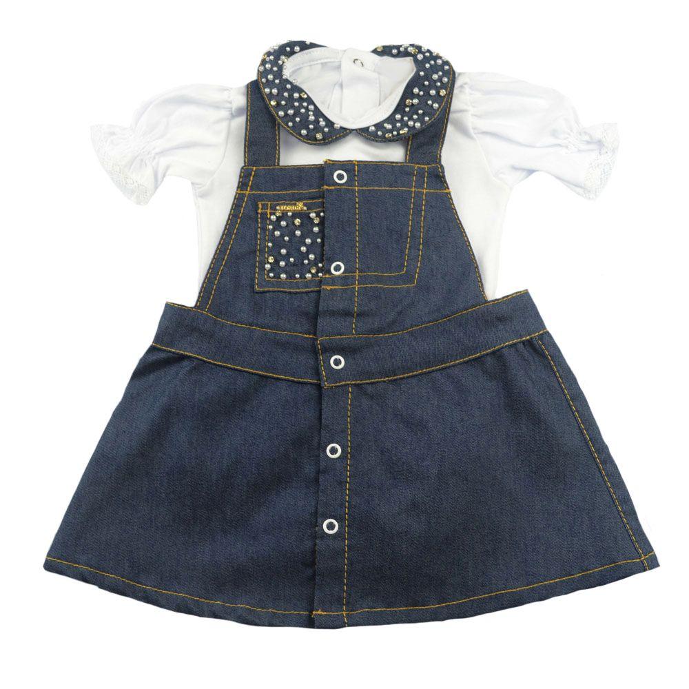 Conjunto bebê com vestido e body - Jeans e branco