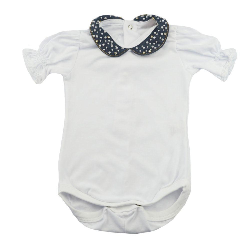 Vestido bebê com body - Jeans e branco
