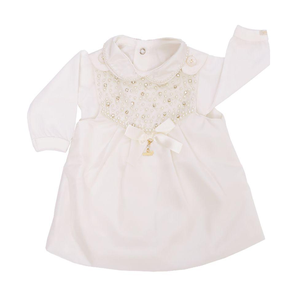 Conjunto com vestido e body bebê - Marfim
