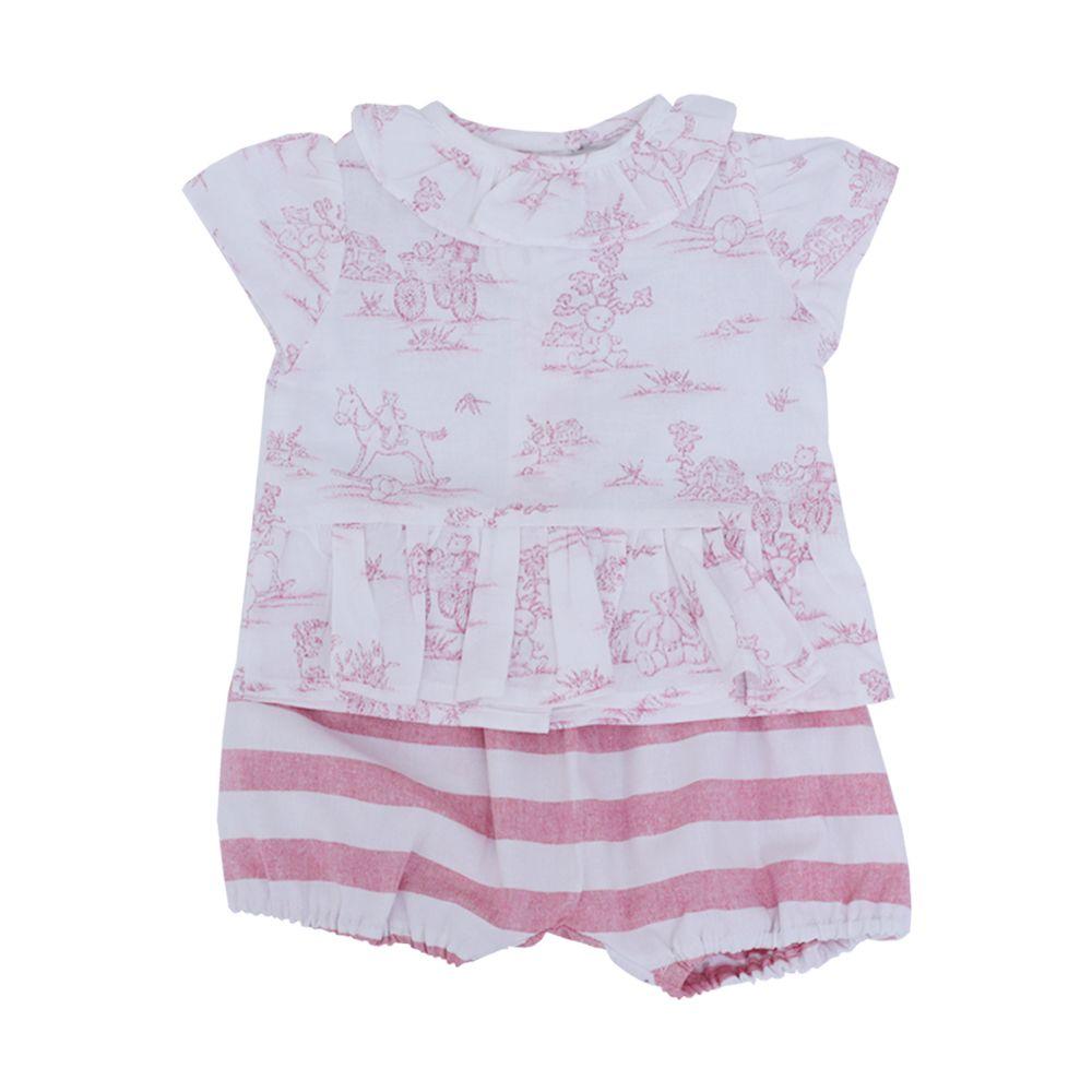 Conjunto bebê 2 peças - Branco e rosa