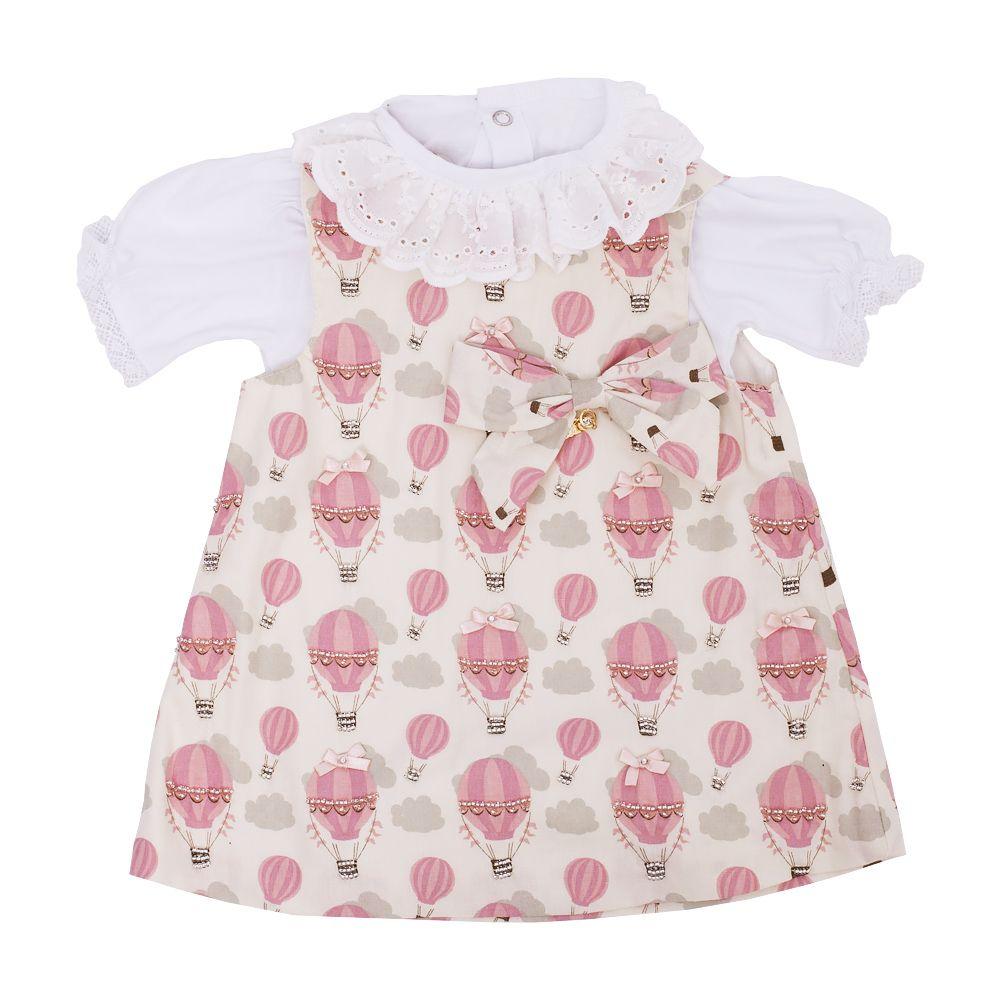 Conjunto bebê com vestido e body - Off white e rosa