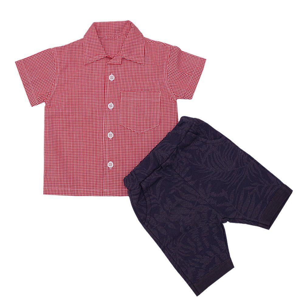 Conjunto bebê 2 peças - Vermelho e azul marinho