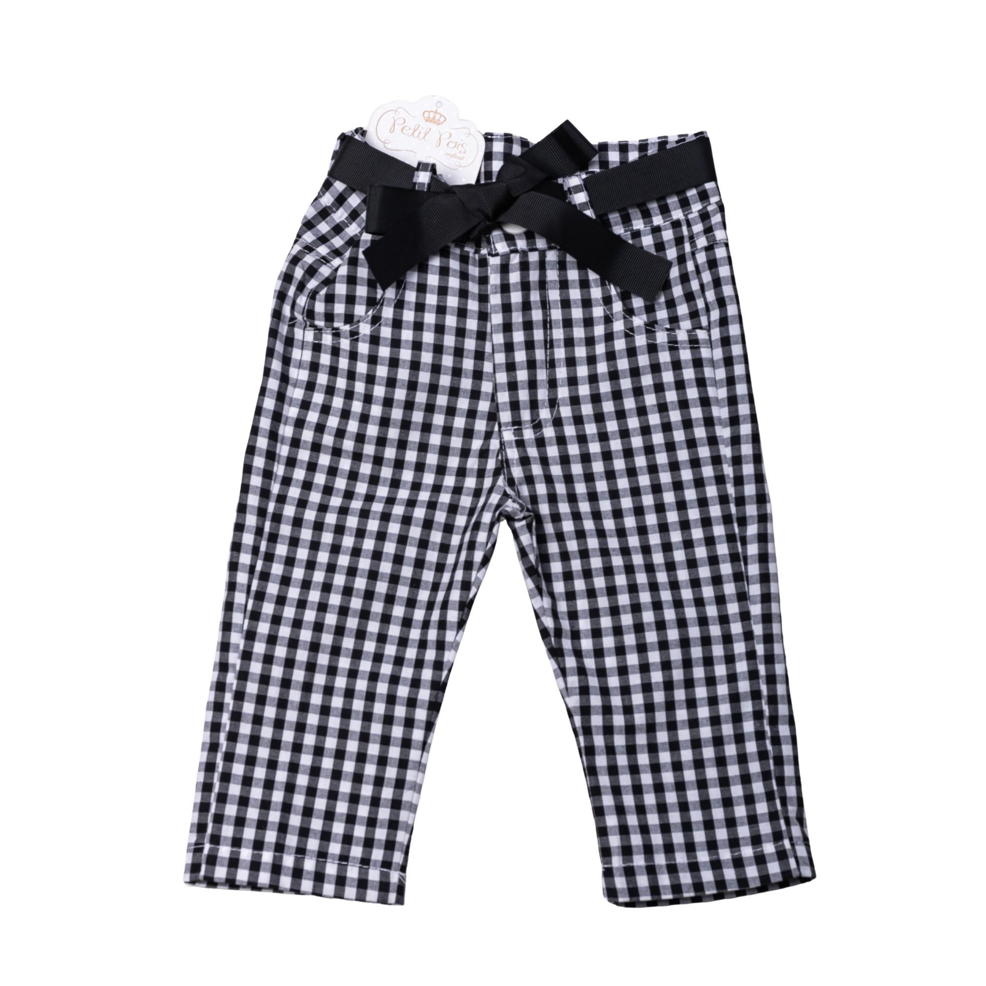 Conjunto xadrez bebê com body e calça - Branco e preto