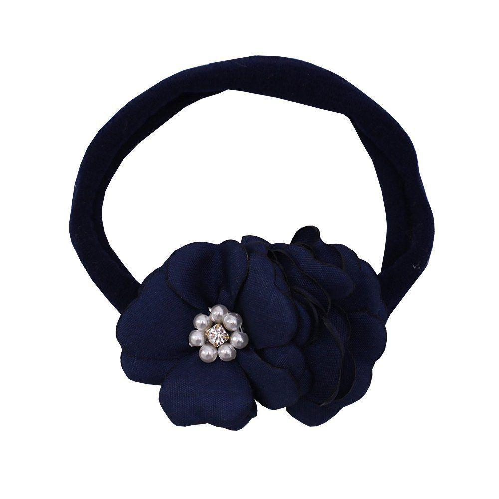 Faixa bebê de meia 2 flores - Azul marinho