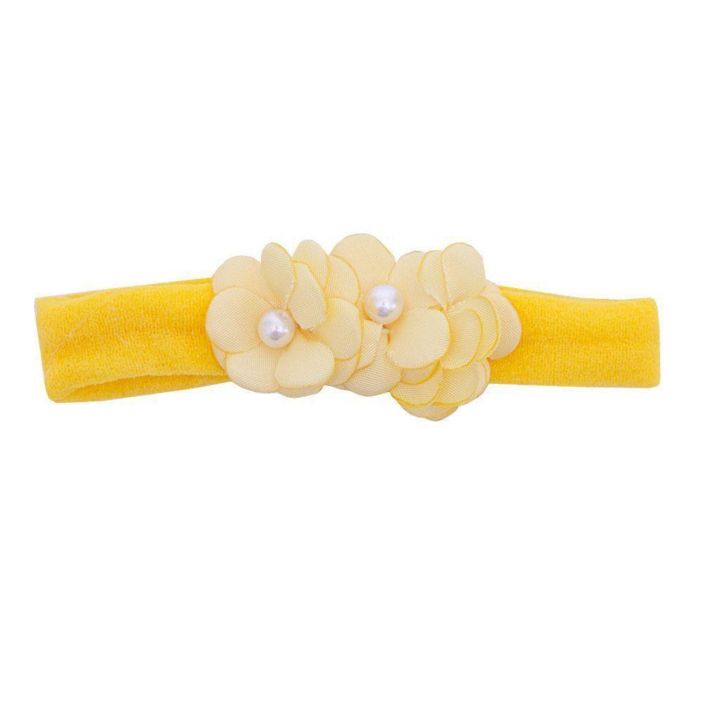 Faixa bebê de meia 3 flores - Amarelo