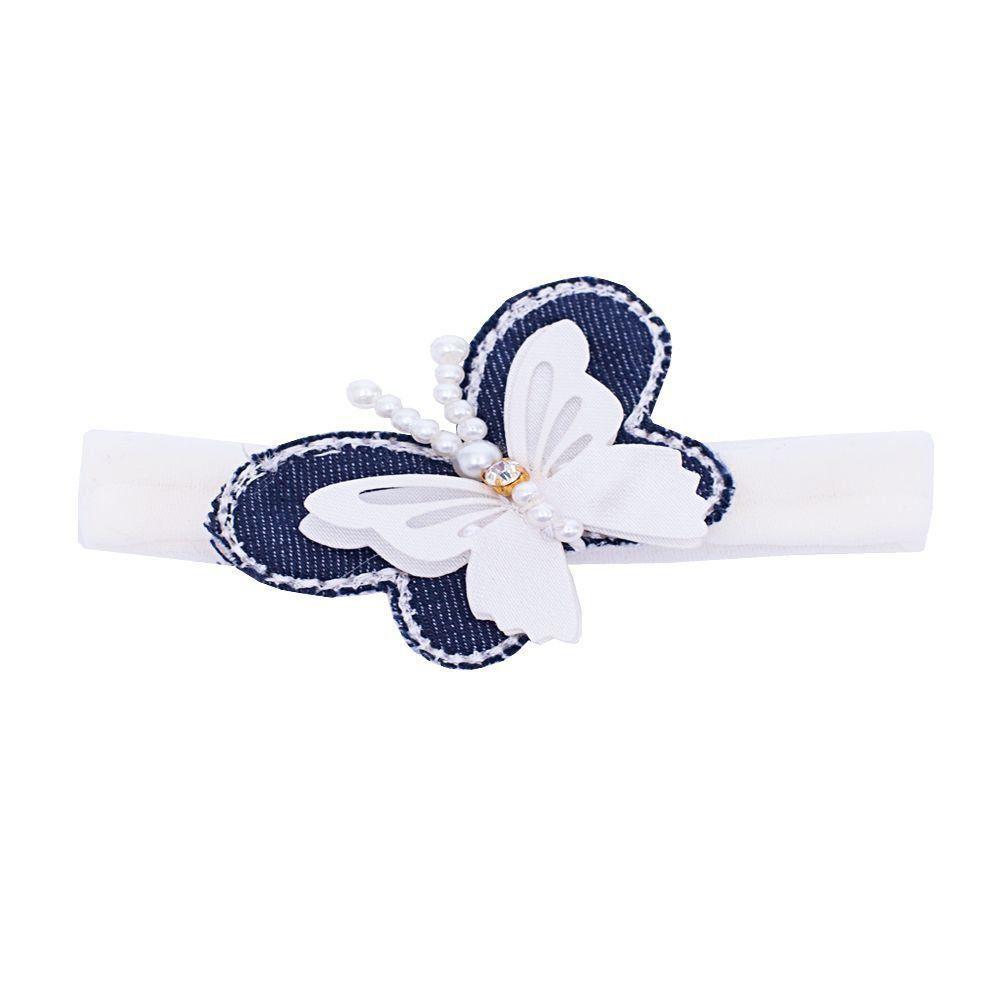 Faixa bebê de meia borboleta - Off white