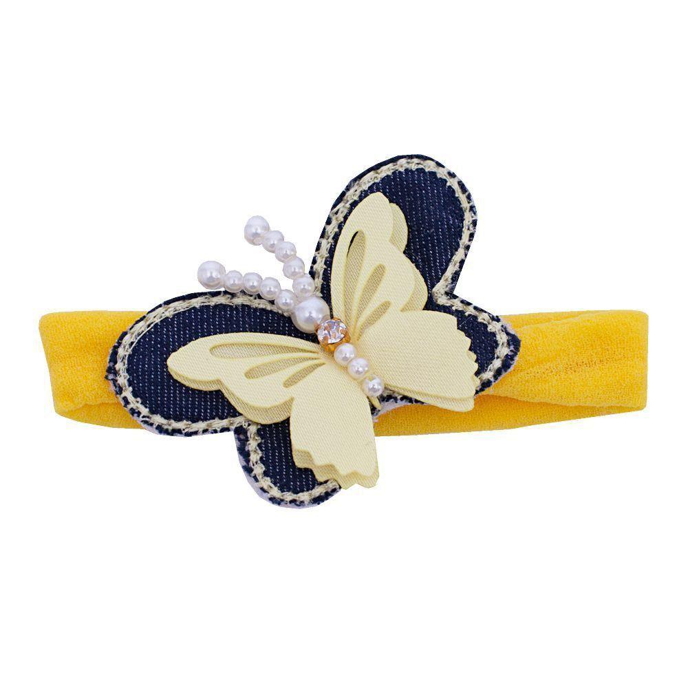 Faixa bebê de meia com borboleta - Amarelo