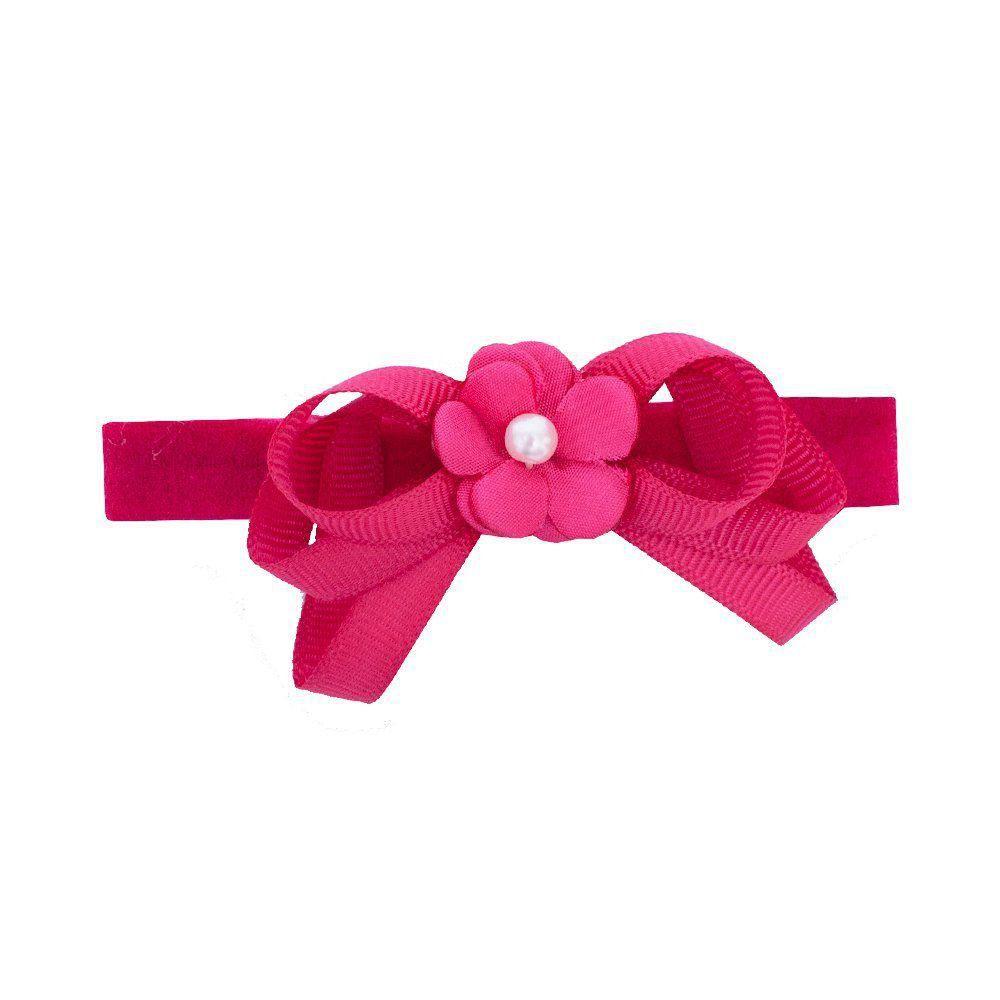 Faixa bebê de meia com flor e laço - Pink