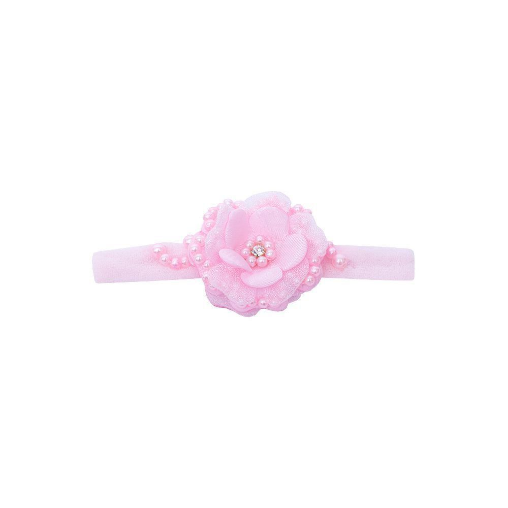 Faixa bebê de meia com flor e pérolas - Rosa bebê