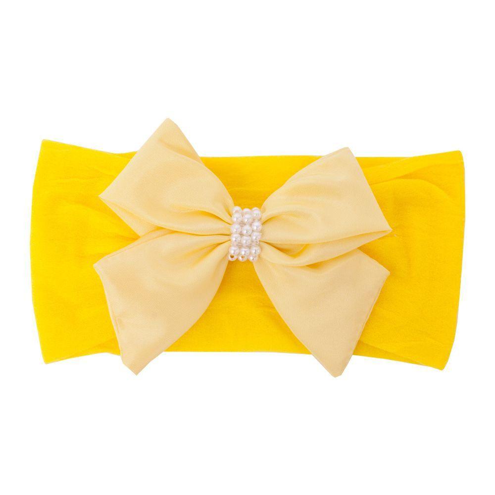 Faixa bebê de meia com laço - Amarelo