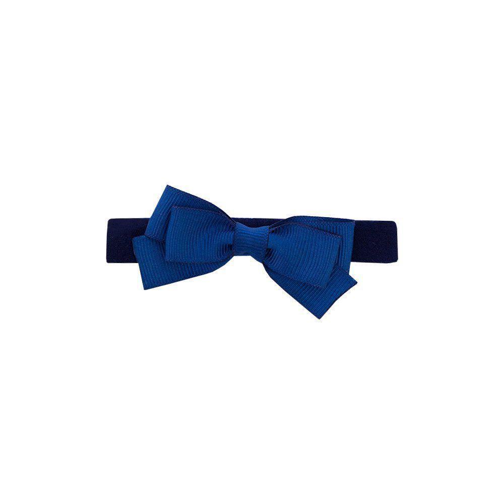 Faixa bebê de meia com laço de gorgurão - Azul marinho